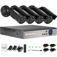 4-канальная система видеонаблюдения с разрешением 720p видеорегистратор 4шт 1200TVL Открытый гидроизоляционный IR камеры CCTV Главная система безо...