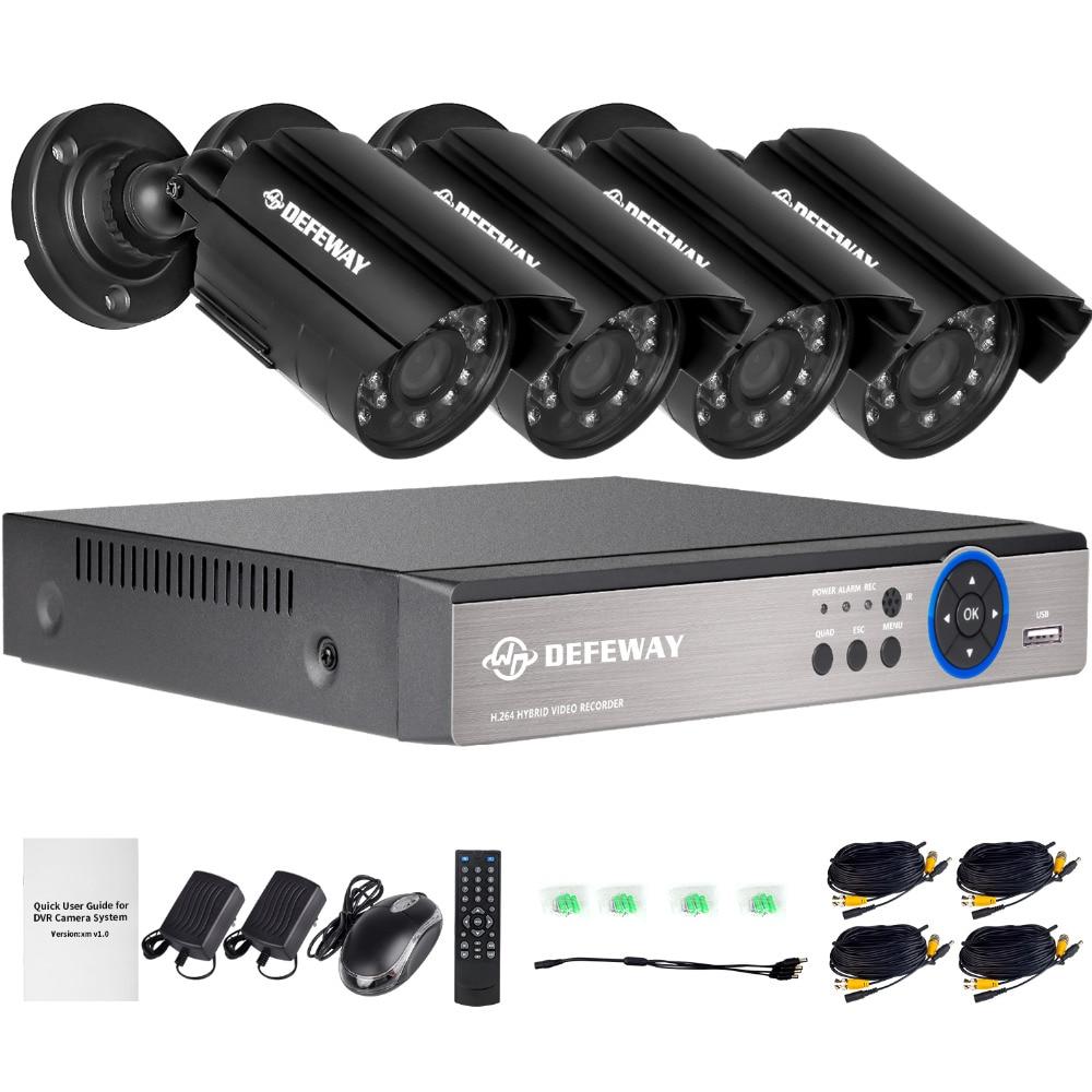 DEFEWAY 1080N HDMI DVR 1200TVL 720 P HD Extérieure de Sécurité À Domicile Système de caméra 4CH CCTV Vidéo Surveillance DVR Kit AHD Caméra ensemble