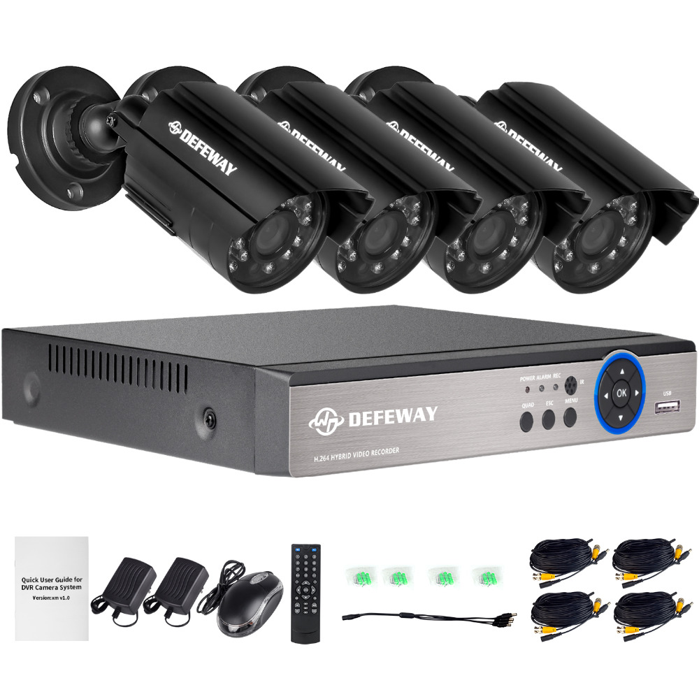 DEFEWAY 1080N HDMI DVR 1200TVL 720P HD Outdoor Home Security Camera System 4CH CCTV Video Surveillance DVR Kit AHD Camera Set defeway 4ch 720p cctv system outdoor mini camera hd recorder 4ch hdmi p2p cctv dvr security home video surveillance hot sale