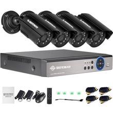 4-канальная система видеонаблюдения с разрешением 720p видеорегистратор 4шт 1200TVL Открытый гидроизоляционный IR камеры CCTV Главная система безопасности