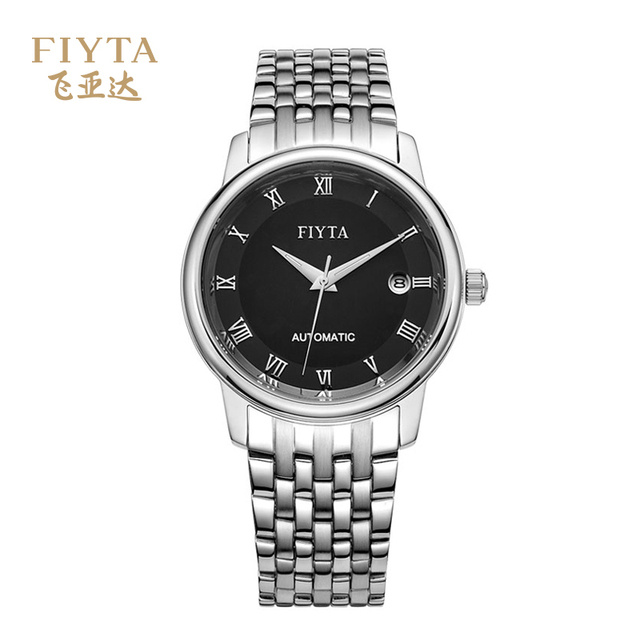 FIYTA Men's Watch-Automatic Mechanical Movement Plated Silver Brass Hands Sapphire Crystal Male Watch With Calendar TGA070.WBW