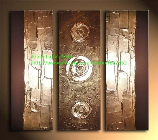 Wall Decor Quality Room Makeovers With Metallic: Metal Wall Art Big Brushes 3 Pieces Canvas Sets 100% Hand