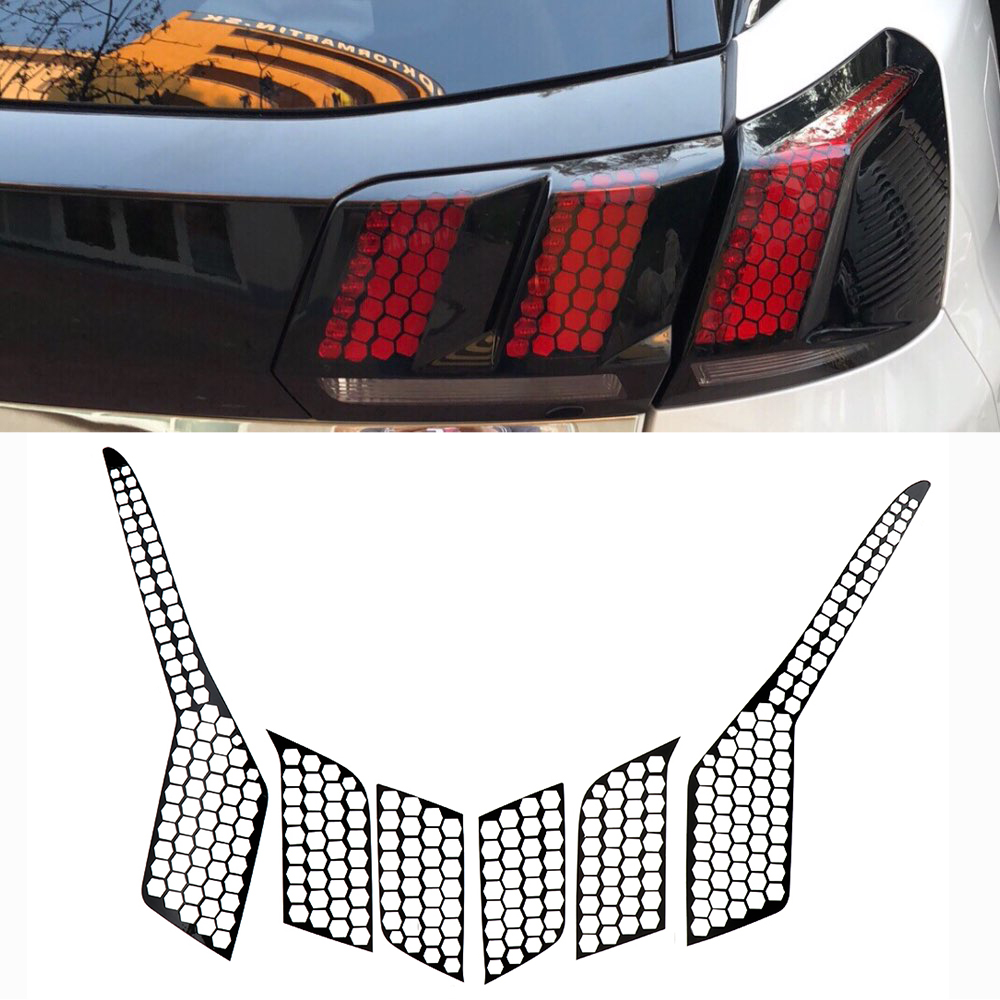 6pcs/Set Honeycomb Decorative Sticker PVC Car Rear Tail Light Cover For Peugeot 3008 GT Exterior Accessories 2016 2017 2018