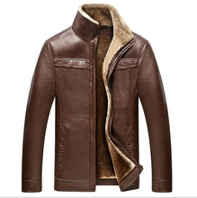 hot brand leather men's leather fur winter fur one integrated velvet thicker leather jacket men's jackets luxury leather goods