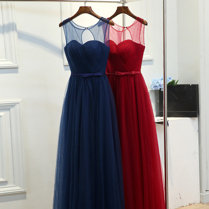 It's Yiiya   Prom   Gowns O-neck Sleeveless Deep Blue Wine Red A-line Tulle Custom Plus Size Floor Length Long   Prom     Dresses   YA010