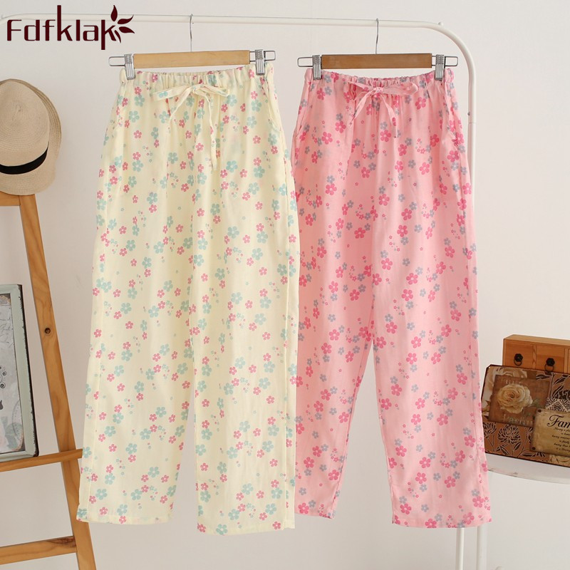 Yellow Floral Women Cotton Pajama Bottoms Loungewear Loose Pyjamas Pants