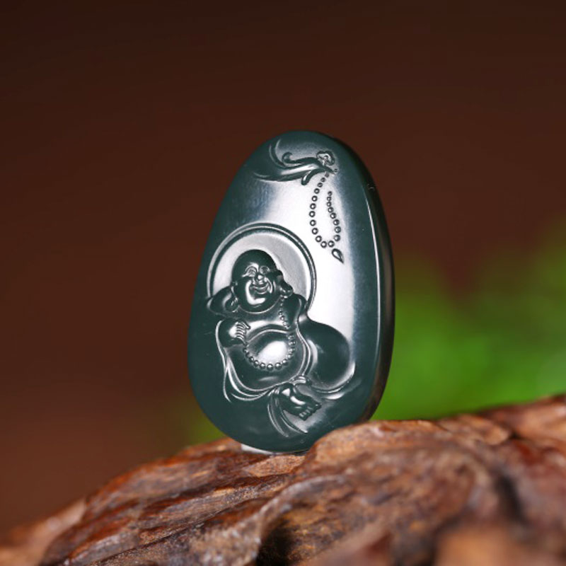 Natural Hetian jade hand carved Maitreya Buddha pendant men and women auspicious jade necklace pendant jewelry gift box in Pendants from Jewelry Accessories