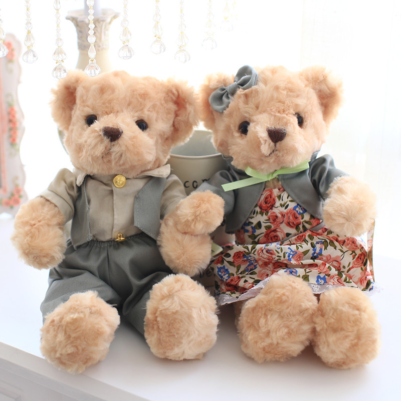 Free shipping 30cm 2pcs/pair lovely mini couple teddy bear with cloth plush toy dolls girls birthday&christmas gift 100% good 2pcs pair lovely couple teddy bear with cloth dress plush toy stuffed baby doll girls