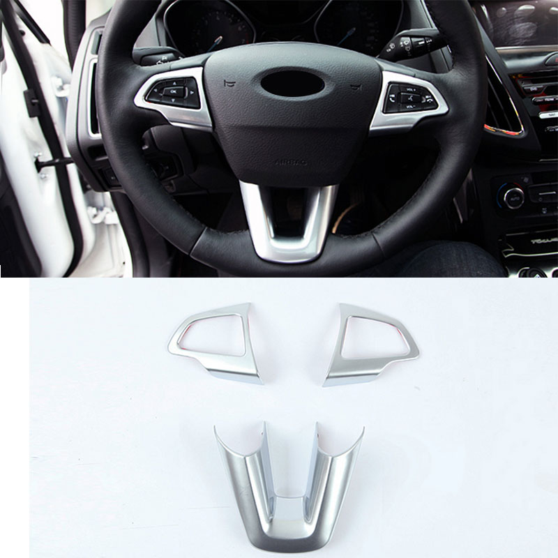 3pcs set abs paint car steering wheel decoration trim sequins sticker for ford focus 4 mk4 2014. Black Bedroom Furniture Sets. Home Design Ideas
