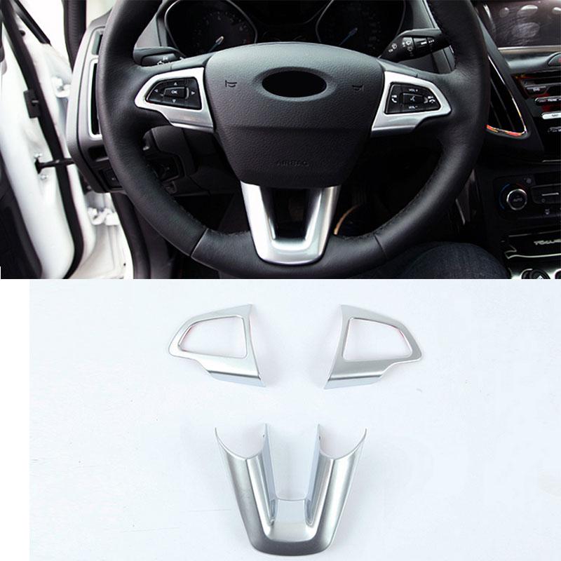 3pcs set abs paint car steering wheel decoration trim sequins sticker for ford focus 4 mk4 2014. Black Bedroom Furniture Sets. Home Design Ideas
