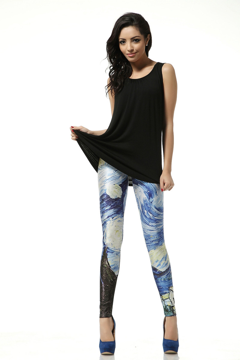 Plus size S-4XL Slim New Women Sexy Universe Cloud Printed Leggings Pants Elasticity Fashion Space Milk Silk Girl space pant