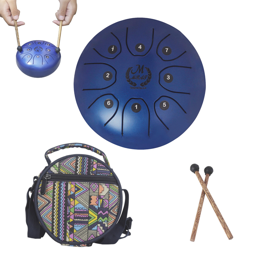 5.5 Inch Worry-free/Tongue Drum Mini 8-Tone Steel Hand Pan Drum Percussion Instrument with Drum Mallets Carry Bag 10 inch education steel tongue drum percussion handcrafted by artisans toy musical instrument with drum sticks and carrying bag