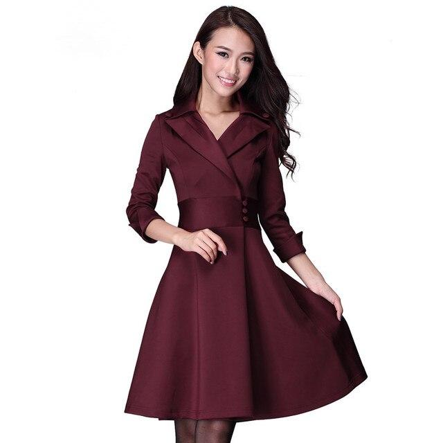 women s Medium-long plus size clothing elegant V-neck slim waist slim three  quarter sleeve ol expansion bottom one-piece dress 6d2fdf751de3