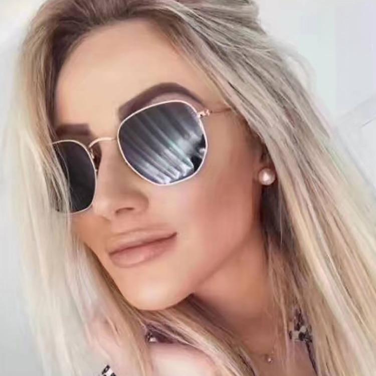 2020 moda óculos de sol feminino marca designer pequeno quadro polígono lente clara sunglasse unissex óculos de sol uv400