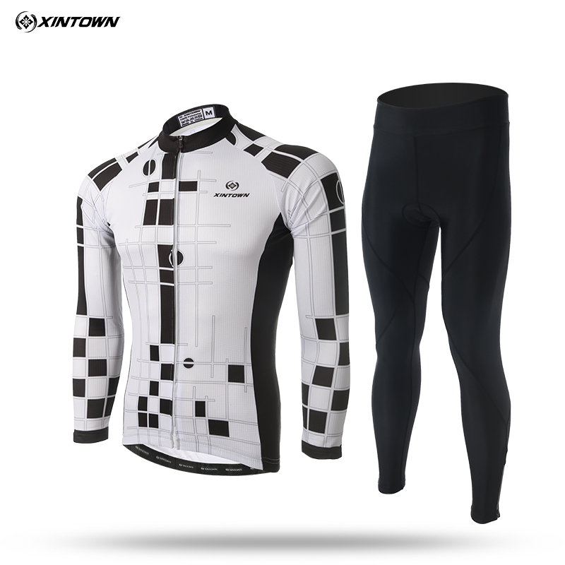 XINTOWN Mens Cycling Jersey for Spring and Autumn MTB Sport Polyester Long Sleeve Bike Jersey Set xintown men s cycling long jersey top padded pants set black purple multi color m
