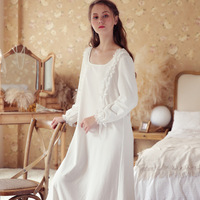Free shipping Women Sexy White Pure Cotton Nightgowns Female Vintage Household Royal Gowns Home Wear Dress Vestidos WQLX907