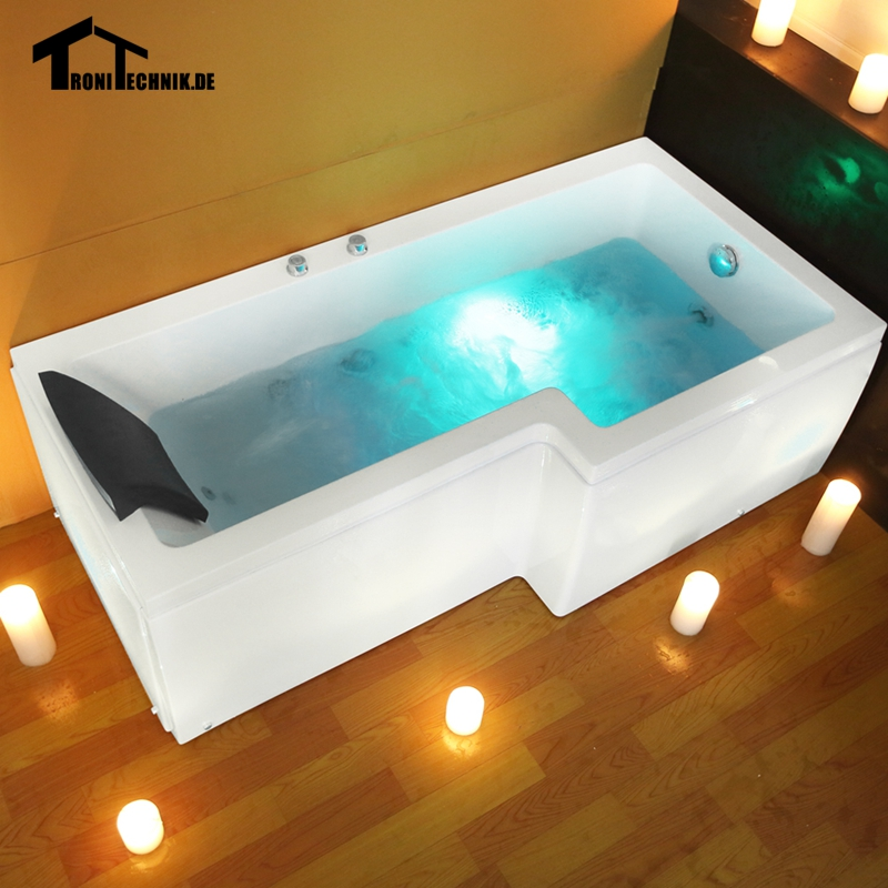 L Shaped Right Hand Whirlpool Shower Spa massage Square Bathtub JET ...