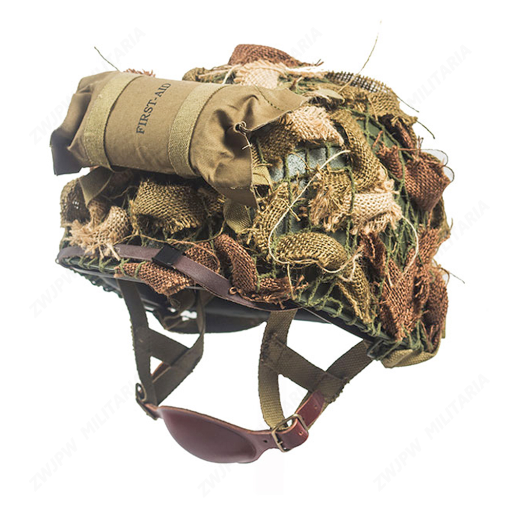 WW2 US ARMY ALRBORNE M1C HELMET WITH AIRBORNE TROOPS FIRST AID KIT AND CAMOUFLAGE NET airborne pollen allergy