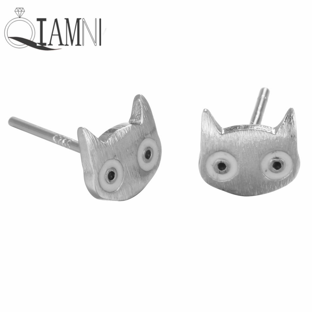 925 Sterling Silver Lovely Cat Head Animal Piercing Studs Earrings For  Women Girls Christmas Jewelry Party