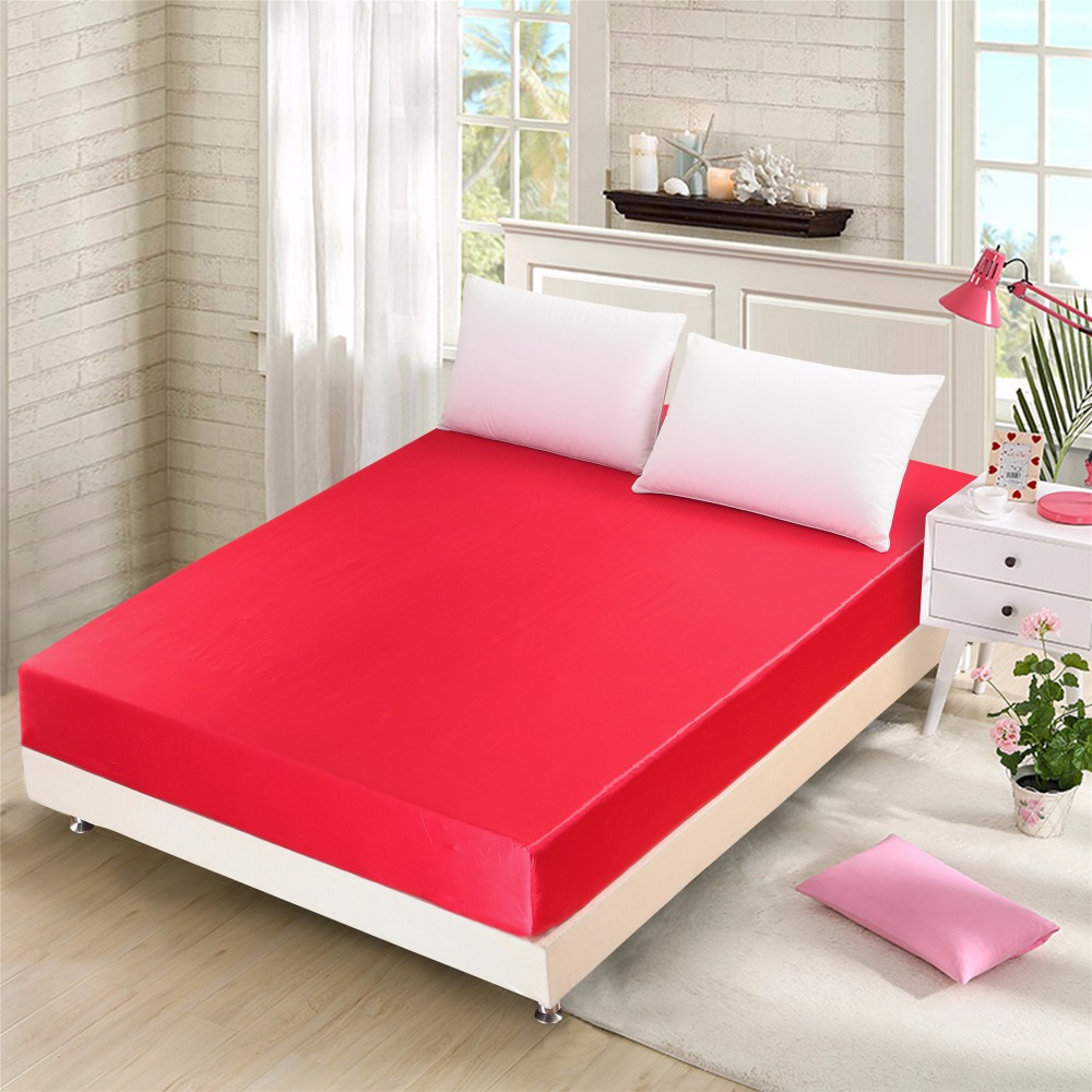 High thread count bed sheets - Moonpalace Red Solid Fitted Bed Sheet Super Silky Soft High Thread Count Brushed Microfiber Wrinkle Fade