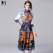Merchall 2019 New Summer Fashion Runway Designer Skirt Suit Womens Half Sleeve Blouse Floral Bow Print Pleated Short Skirts Set