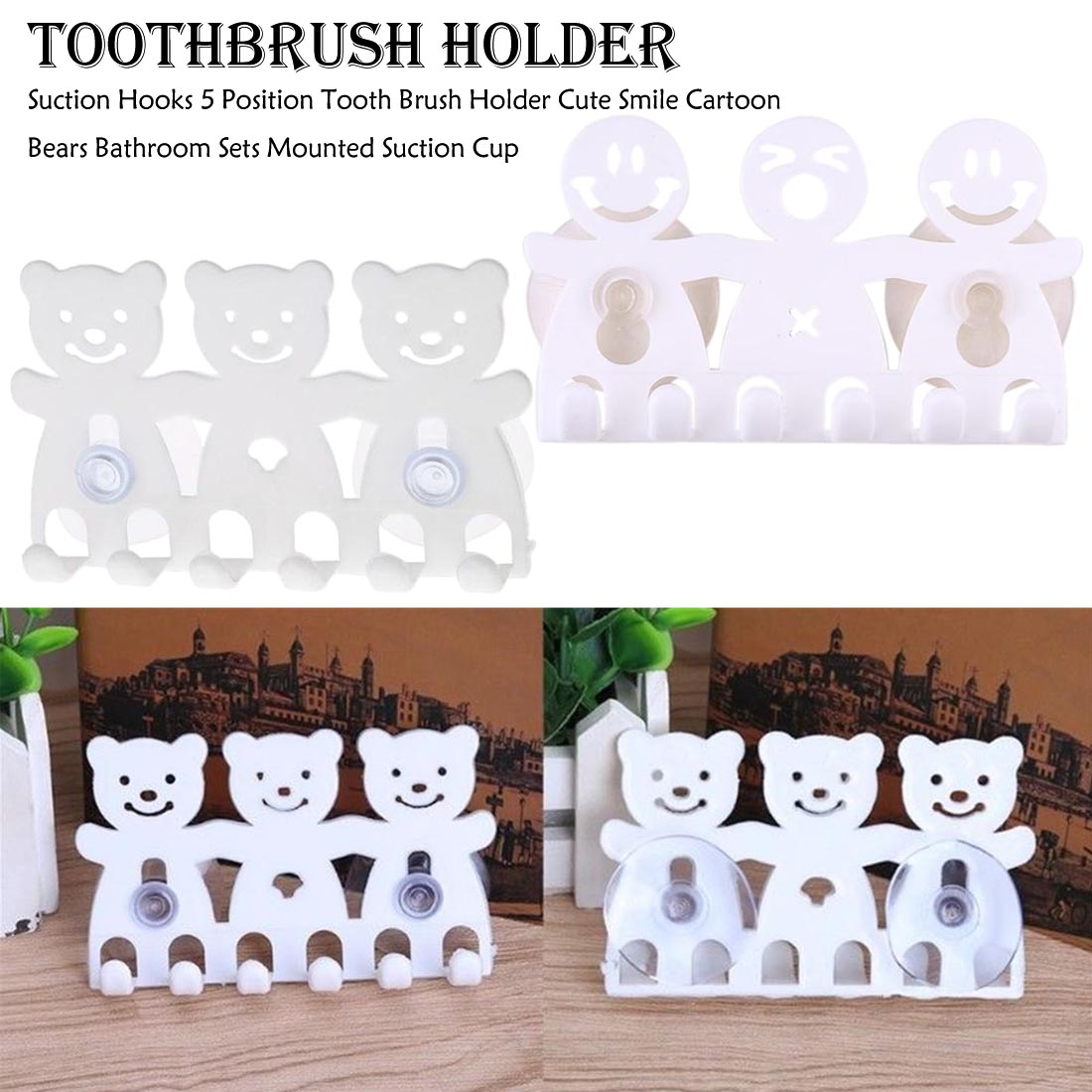 1pcs Wall Mounted Suction Cup Hooks 5 Position Toothbrush Holder Cute Smile Cartoon Bears Bathroom Sets image