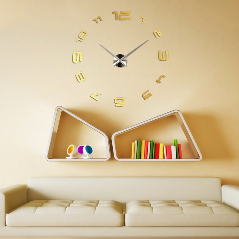 New Fashion Large Number Wall Clock Diy 3D Mirror Sticker Home Decor ...