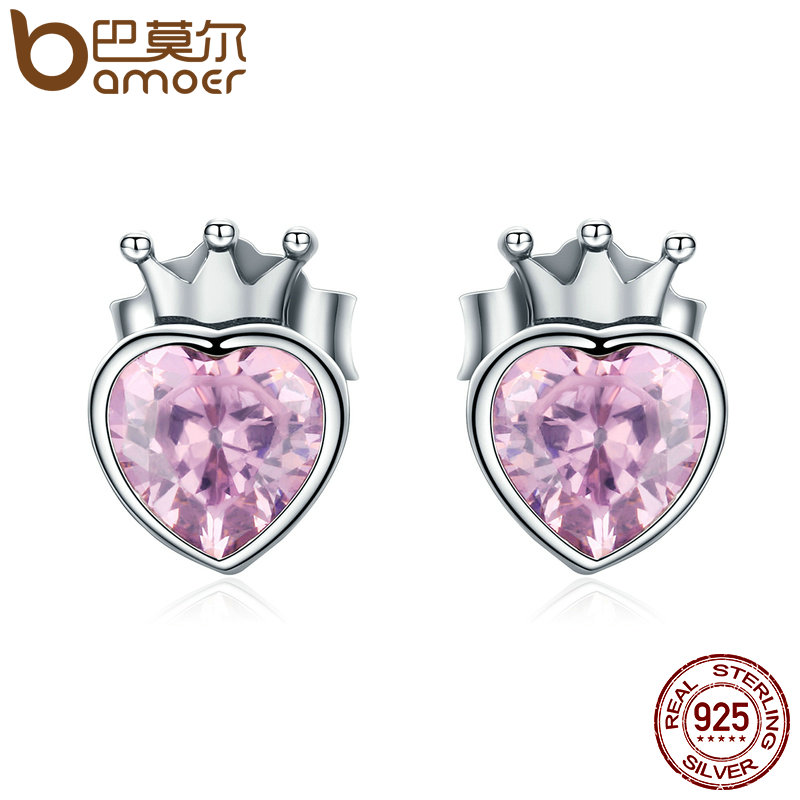 BAMOER Authentic 925 Sterling Silver Sweet Pink Heart of Crown Stud Earrings for Women Luxury Silver Jewelry Bijoux Gift SCE174 pair of stylish rhinestone triangle stud earrings for women