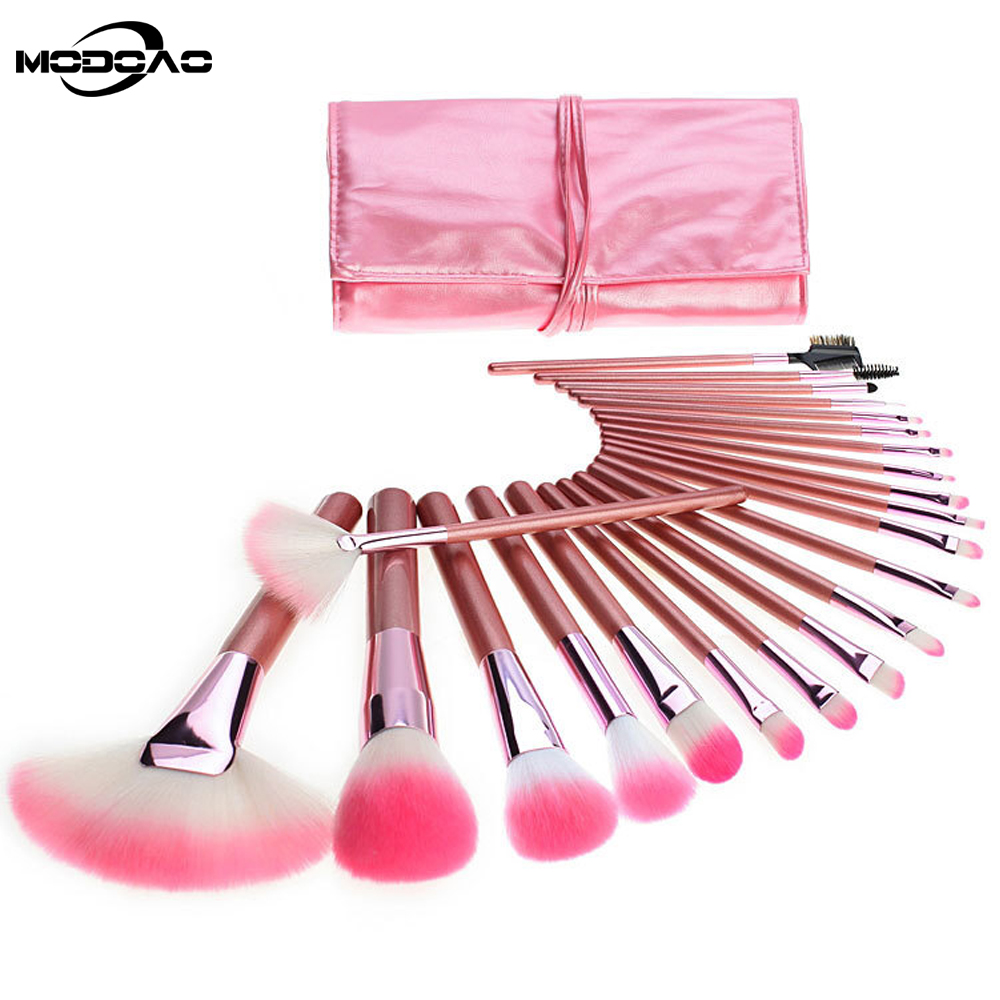 MODOAO Hot Pink Professional Cosmetic Makeup Brush Brushes Set Kit Soft Pouch Bag Leather Case Maquillaje Women Makeup Tool professional cosmetic makeup brushes in a pink pu bag