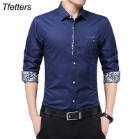 TFETTERS Plus Size 5XL Luxury Brand Men Shirts Non Ironing Long Sleeve Shirt Turn Down Collar