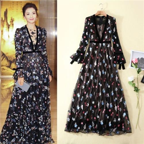 Long Sleeve Elegant Luxury Spring Summer Dress 2018 Runway Womens Fashion Dresses Sheer Mesh Embroidery Long Maxi Dress Black xl