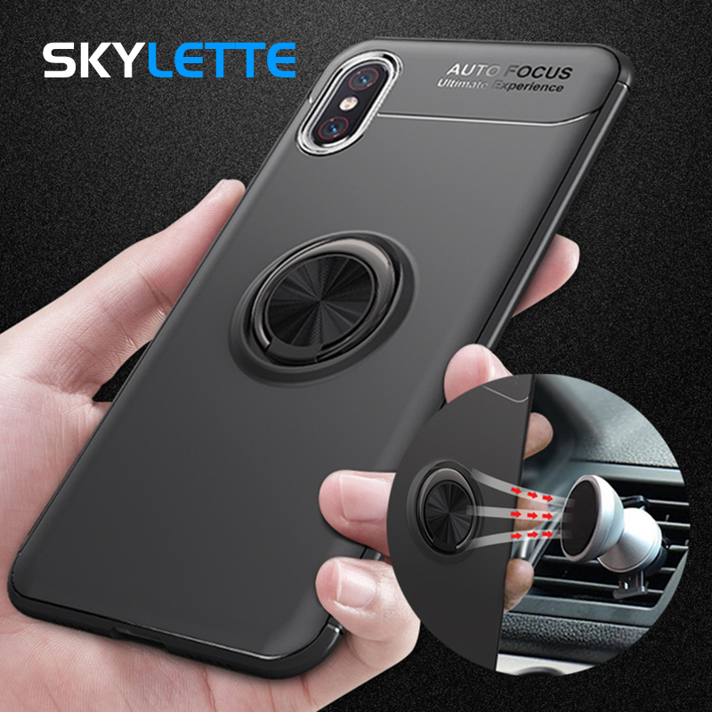 Phone Holder Case For Redmi Note 5 With Rotate Car Bracket Ring Magnetism Adsorption Vehicle Holder Cover Case For Xiaomi Note 5