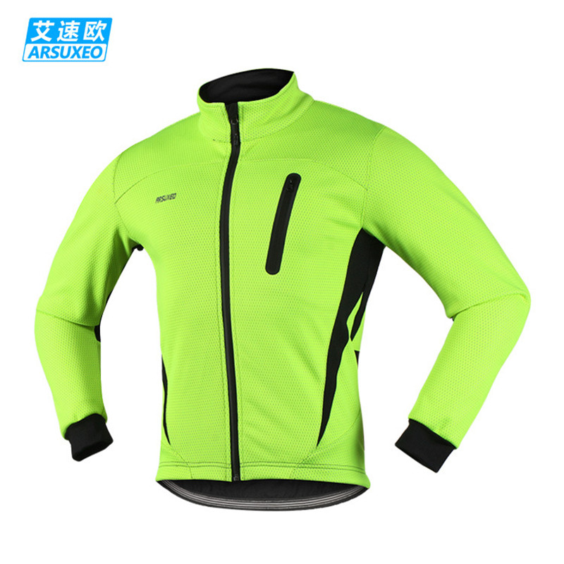 ARSUXEO Winter Men's Cycling Jacket Thermal Fleece Warm Reflective Bike Jacket Bicycle Clothing Windproof Windbreaker MTB Coat