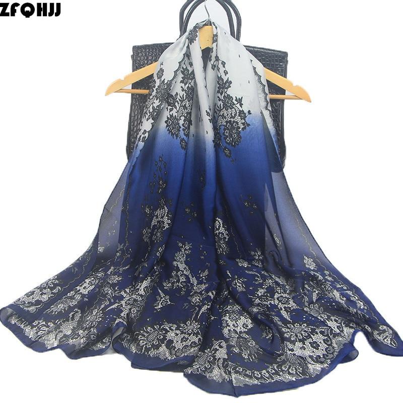 ZFQHJJ High Quality Women Silk Scarf Fashion Lace Mesh Flower Ombre Scarves Shawl Wraps Long Soft Foulard Female Hijab Scarf