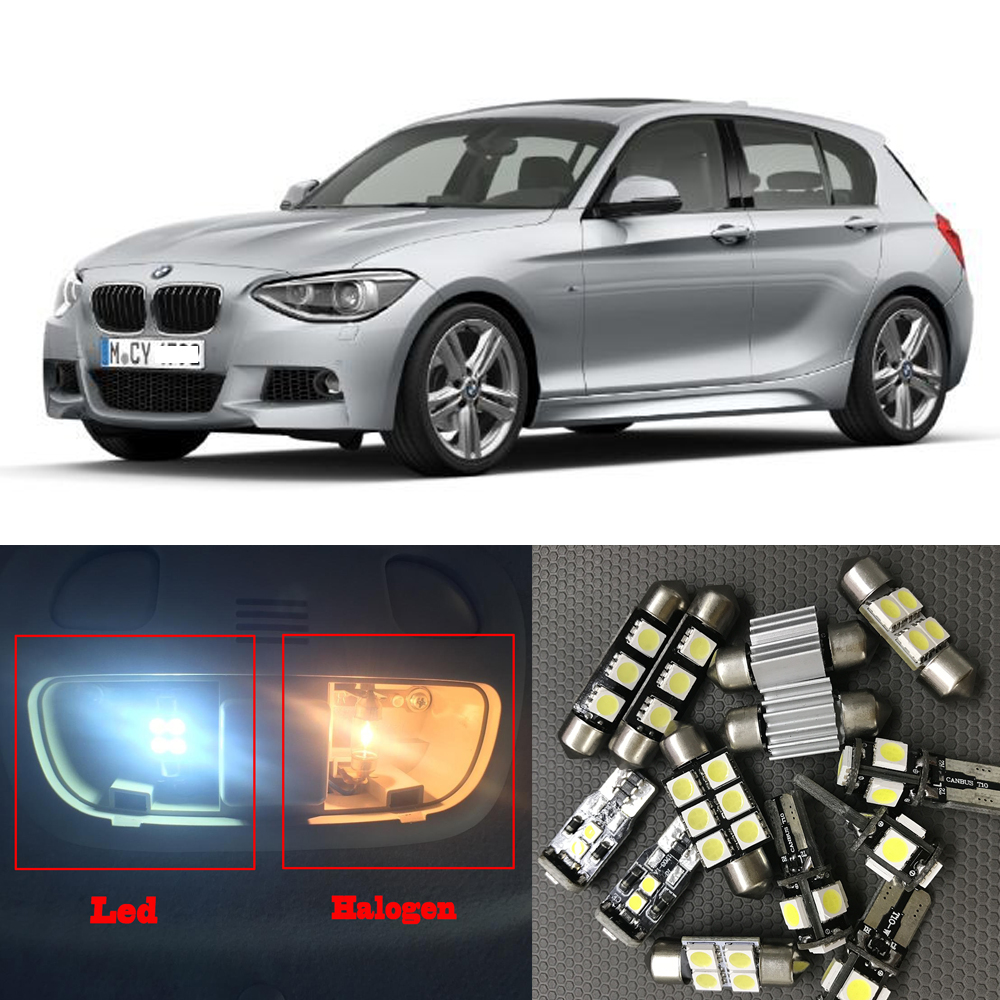 16x White Canbus Car LED Light Bulbs Interior Package Kit For 2012 2013 2014 BMW 1 Series F20 Error Free Map Step Courtesy Light