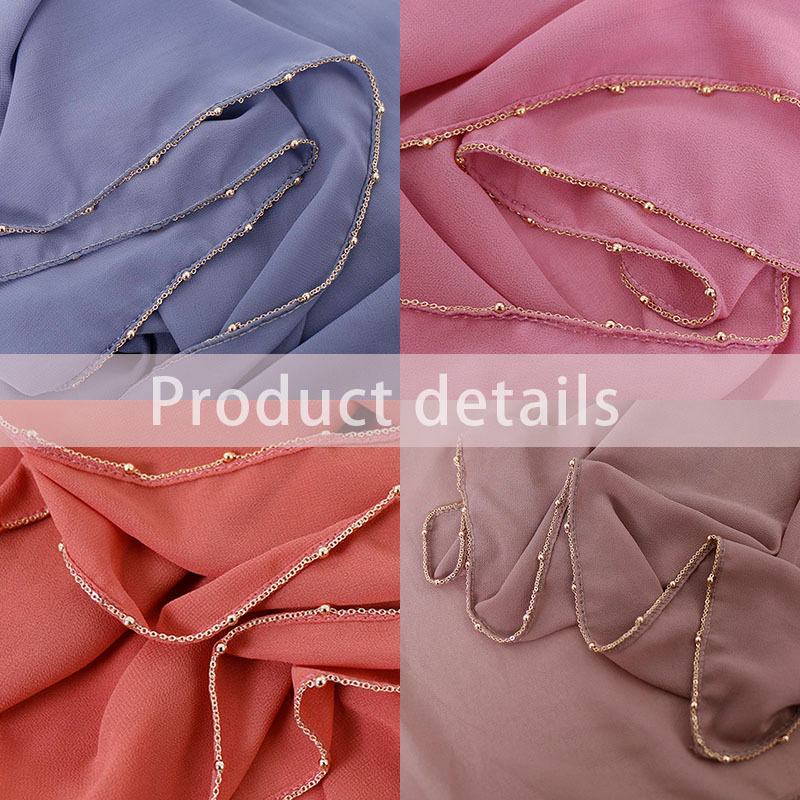 New Plain Bubble Chiffon   Scarf   Women Shawl Gold Plate Chain Islamic mousseline Hijab   Scarves     Wrap   Muslim Head   Scarf   Headband