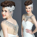Nueva Boda de La Novia de Lujo Cristalino Grande Collar de Cadena de Novia de Encaje Princesa Plataforma de Baile V Hombro Joyas de Cristal