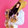 Новая Мода Дизайнер Шапочки Зимняя Шапка с Ушами Теплый Шапочка Девушка Шляпы с 9 Шаров
