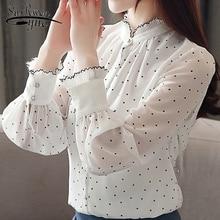Fashion women chiffon blouse 2019 spring Long sleeve Puff blouse stand neck Chiffon lady shirt Dot pattern Lady blouse 2261 50