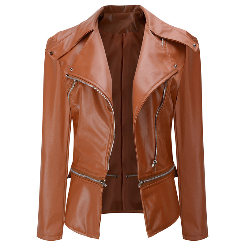 Women Suit   Leather   Jacket Short Streetwear European Style Casual Automotive   Leather     Suede   Coat Women Clothing Plus Size 4XL B516