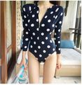 2016 Long Sleeve Swimwear Dot Women Zipper Triangle Sports Swimsuit High Neck Bodysuit Sexy Biquini Thong One Piece Monokini