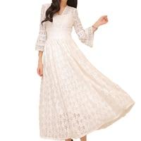 Autumn Women Casual Long Elegant Dresses Female Maxi Floor Length Festival Prom Gown Female Vestidos Hollow Out Lace Dress O104
