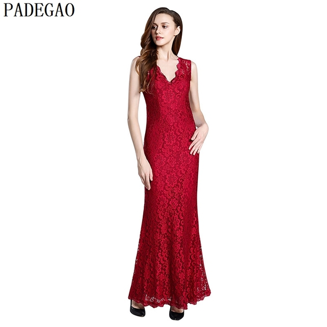 PADEGAO burgund spitze langes kleid fashion patchwork hohl out ...