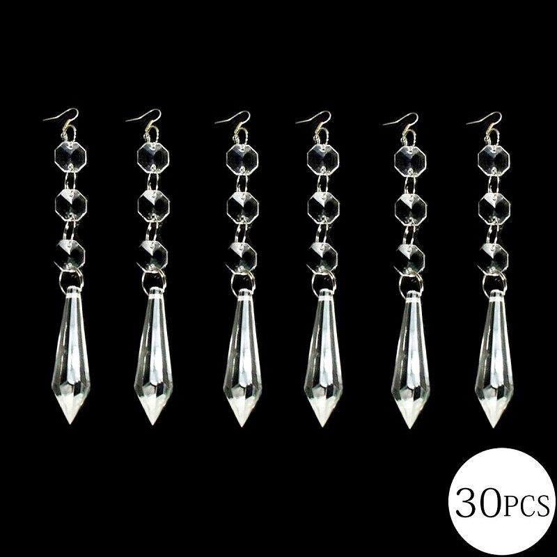 30 pièces 38mm cristal clair u-drop glaçon prismes avec 14mm octogone cristal perle rideau cristal pendentifs pour lustres pièces