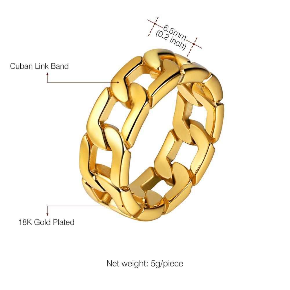 U7 היפ הופ טבעת מתנות לגברים 316L נירוסטה להקת זהב/שחור/כסף צבע 2017 חדש קובני שרשרת טבעת גברים של תכשיטי R1014