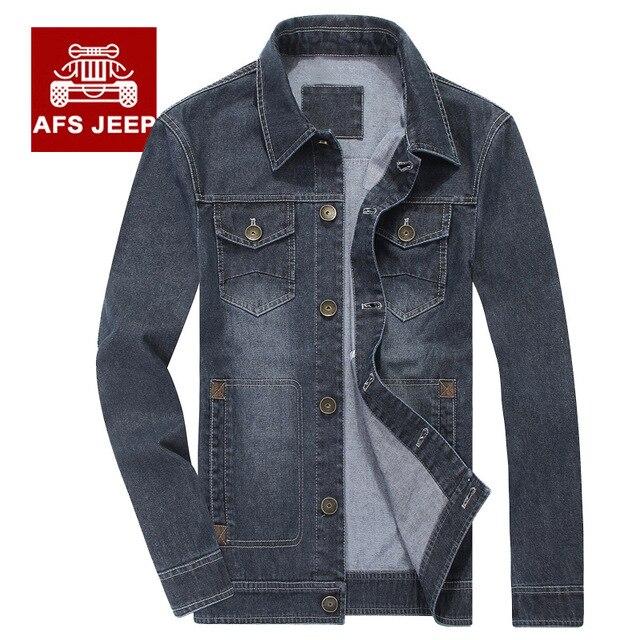 96be5317603e Nova Marca Primavera Outono Homens Jeans Jaqueta Jeans Militar Do Vintage  Turn-Down Collar Casaco