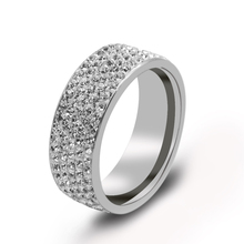 5 Rows Crystal Stainless Steel Rings For Women Full Finger Crystal Love Wedding Band Jewelry Wholesale Suppliers