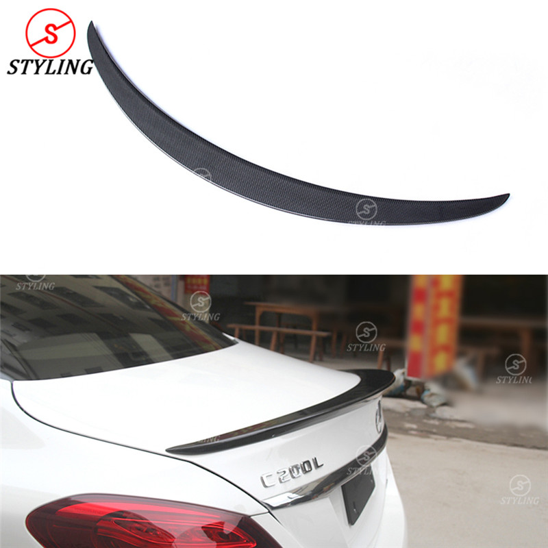 For Mercedes-benz W205 Carbon Fiber Spoiler AMG Style C Class W205 Carbon Fiber Rear trunk wing spoiler Sedan 4-doors 2014 - UP w204 c180 c200 c260 c300 carbon fiber car rear trunk lip spoiler wing for mercedes benz w204 c63 4 door 2008 2013 amg style