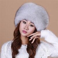 Women S Winter Hats Knitted With Fox Fur Women Customized Headgear Hat For Women Casual Female