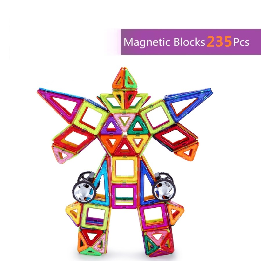 235pcs High Quality Kids 3D  DIY Magnetic Blocks Educational Toys Magnetic Building Block Bricks Magnetic building block Set 62pcs set magnetic building block 3d blocks diy kids toys educational model building kits magnetic bricks toy